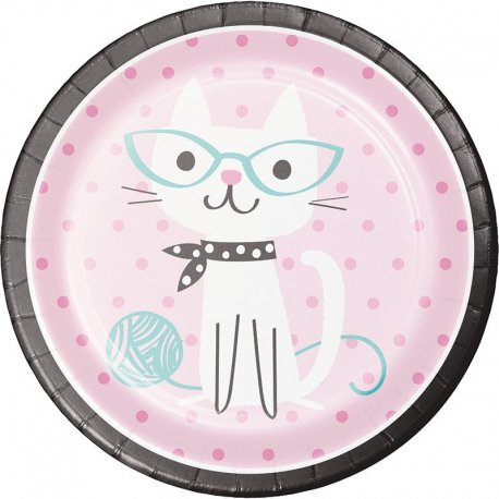 8 Platos 23 cm Purr-Fect Party
