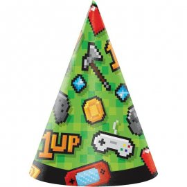 8 Gorros Infantiles Gaming Party