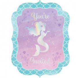 8 Invitaciones Mermaid Shine