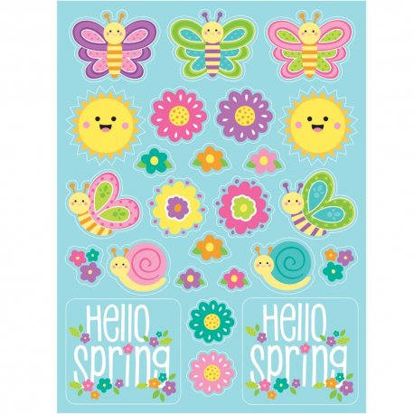 4 Stickers Hello Spring